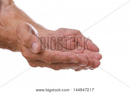Old man open palms on a white background