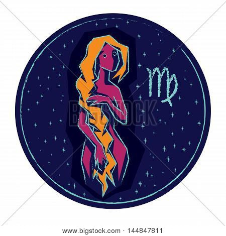Zodiac sign Virgo on night starry sky background. Vector illustration.