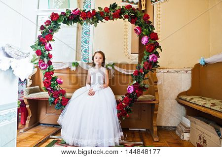 Portrait Of Cute Little Girl On White Dress And Wreath On First Holy Communion Background Heart Flow