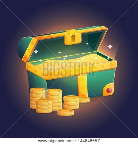 Illustration of an open unlocked ancient treasure chest with sparkling golden coins and other riches shining inside of it.