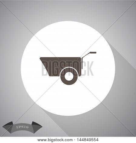 Construction wheelbarrow  vector icon for web and mobile.