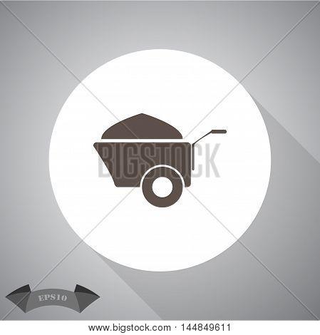 Construction wheelbarrow with sand vector  vector icon for web and mobile.