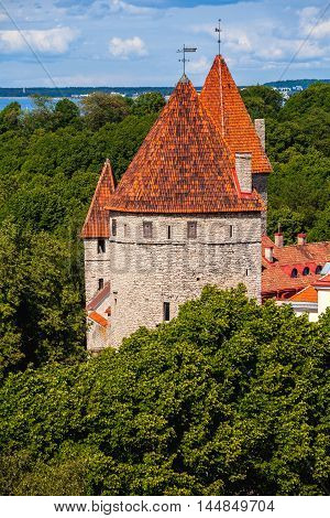 medieval towers of old town Tallin Estonia