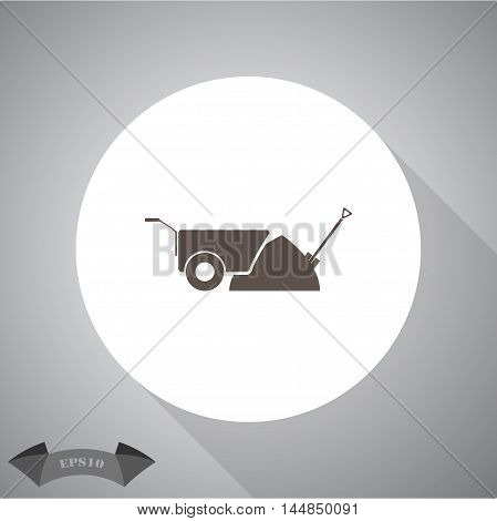 Construction wheelbarrow with sand and Shovel vector icons