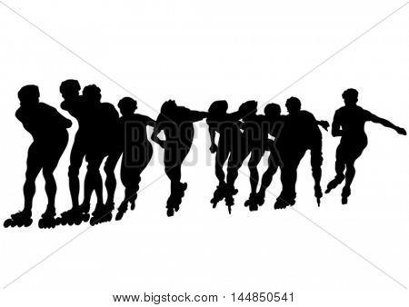 Boys on roller skates on white background