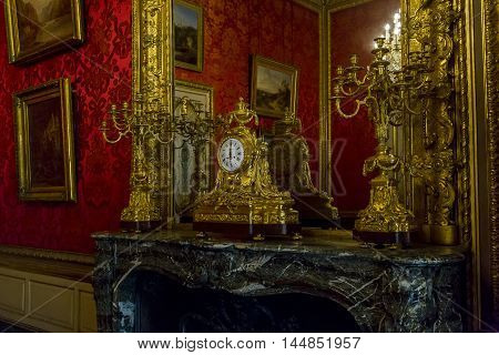 PARIS, FRANCE - MAY 13, 2015: This is the apartment with the preserved interior of the times when they lived Emperor Napoleon III in the Louvre.
