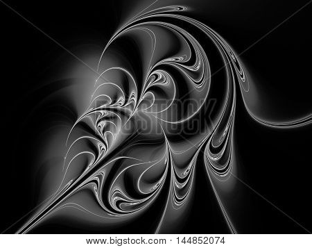 Abstract beautiful grey ornament fractal on black background