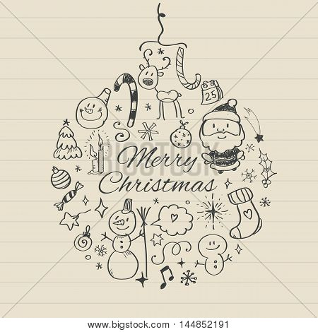 Vector illustration of Merry Christmas post card template.
