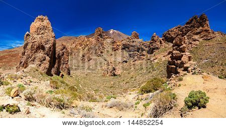 panoramic view of Los Roques de Garcia and Teide volcano are located in the Plain of Ucanca Tenerife Spain