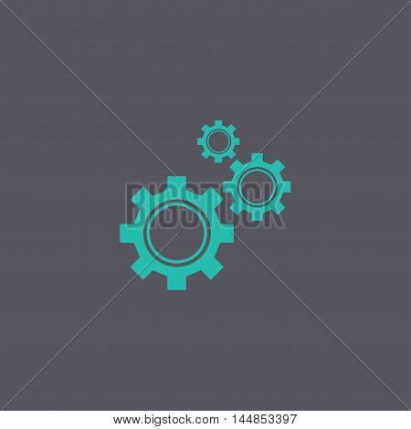 Gears Icon, Vector Illustration. Flat Design Style.