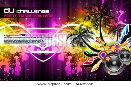 Tropical Disco Party Flyer with Palm and Rainbow Colours