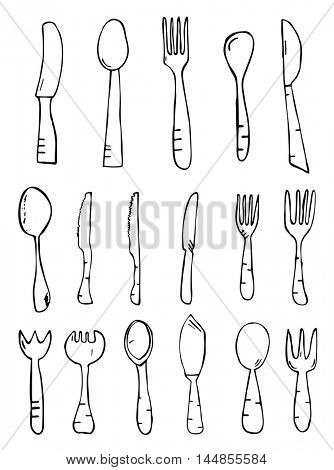 Spoon knife fork. Hand drawn isolated objects. Sketch. Vector illustration.