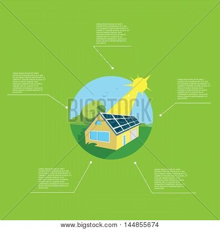 Renewable energy vector illustration. Eco house in green field with blue solar panels on the roof under bright sun. Green ecology infographics template with space for text. Alternative energy.