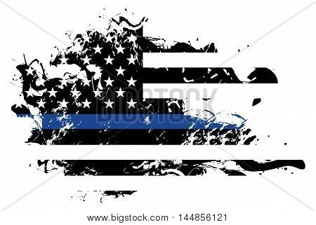 An abstract grunge style American flag police and law enforcement support theme. Vector EPS 10 available.