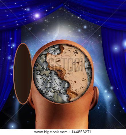 Clock works mind  3D Rendered