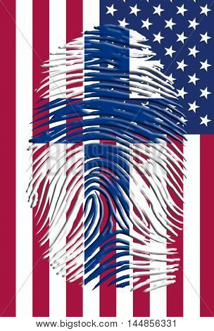 Finland USA Flag and finger print  3D Rendered