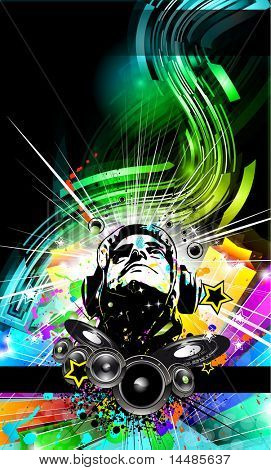Alternative Discotheque Music Flyer with Attractive Rainbow Colors