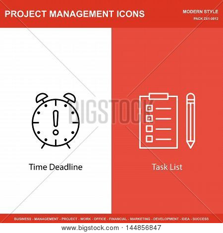 Set Of Project Management Icons On Deadline And Task List. Project Management Icons Can Be Used For