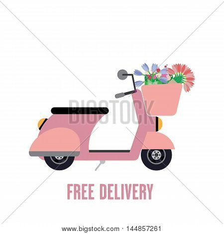 Flat moped illustration with flowers in a basket