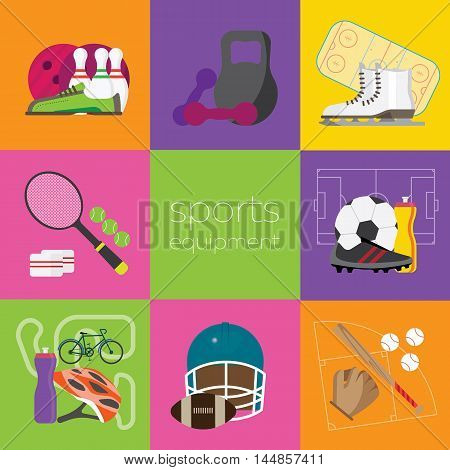 composition with sports equipment, flat vector icons