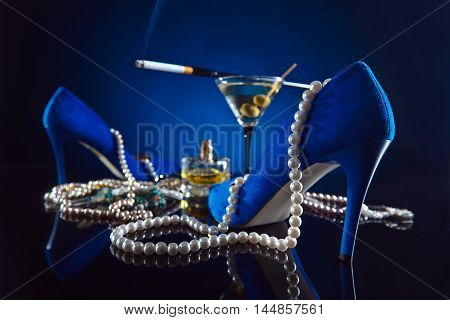 Blue Shoes With Pearl And Martini
