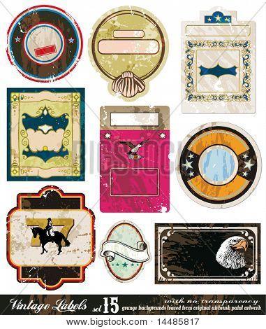 Vintage Labels Collection - nine design elements with original antique style -Set 15