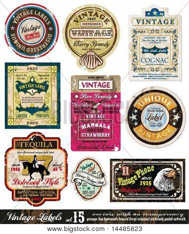Colección de etiquetas Vintage - nueve elementos con original antiguo estilo - 15 Set