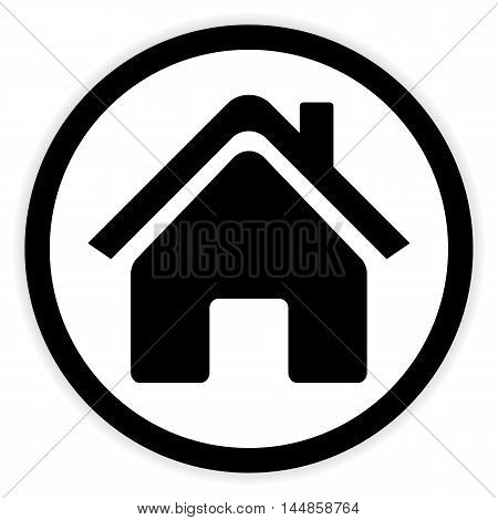 Home symbol button on white background. Vector illustration.