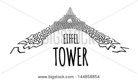 Eiffel Tower in hand-drawn doodle style on white
