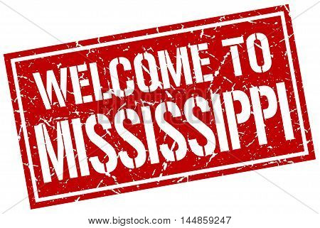 welcome to Mississippi. stamp. grunge square sign