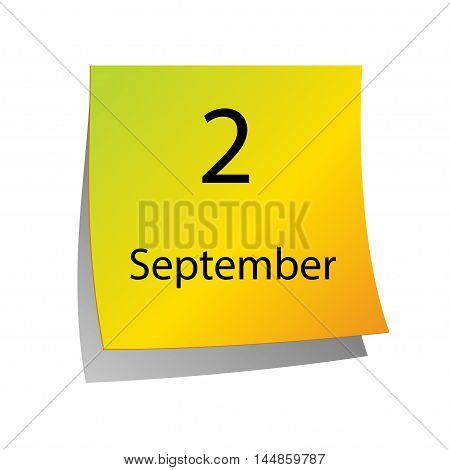 The second of September in Calendar icon on white background