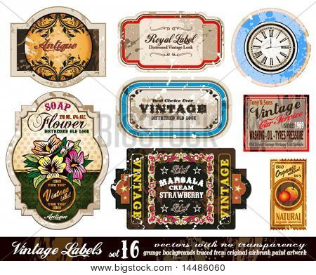 Vintage Labels Collection - neun Designelemente mit original antikem Stil - Set 16