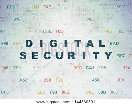 Safety concept: Painted blue text Digital Security on Digital Data Paper background with Hexadecimal Code