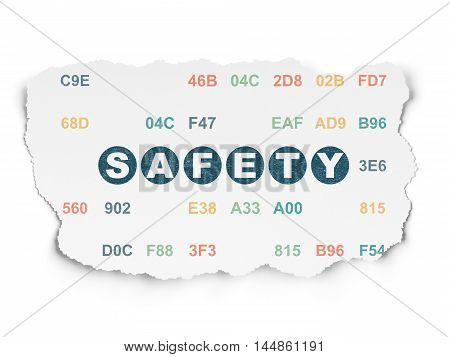 Protection concept: Painted blue text Safety on Torn Paper background with  Hexadecimal Code