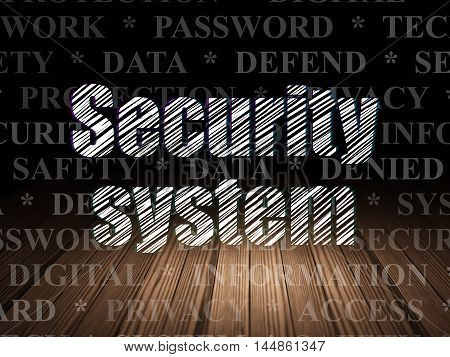Safety concept: Glowing text Security System in grunge dark room with Wooden Floor, black background with  Tag Cloud