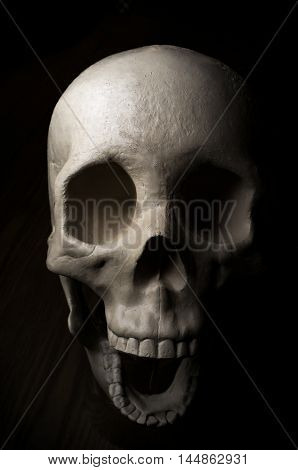 Terrifying surprised halloween skull for October holiday background