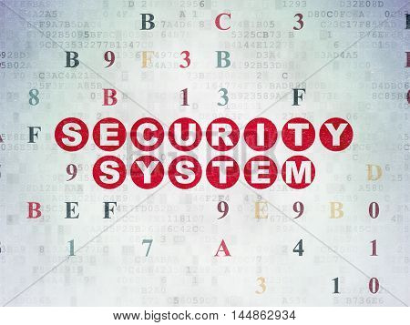 Safety concept: Painted red text Security System on Digital Data Paper background with Hexadecimal Code