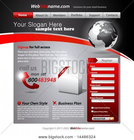 Business WebSite Template with accurate Globe illustration