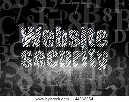 Privacy concept: Glowing text Website Security in grunge dark room with Dirty Floor, black background with  Hexadecimal Code