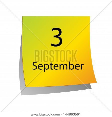 The third of September in Calendar icon on white background
