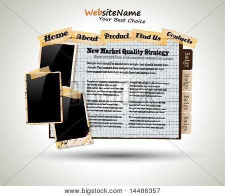 Plantilla de foto libro Vintage estilo Web