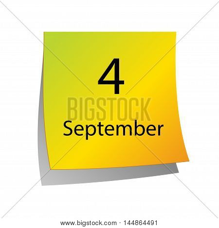 The fourth of September in Calendar icon on white background