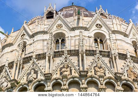 Architecture details of Baptistery at the Leaning Tower in Pisa, Italy