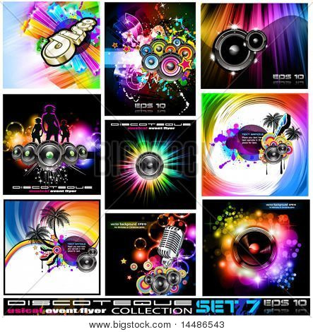 9 Abstract Music Backgrounds for Discoteque Flyer with a lot of desgin elementes - Set 7