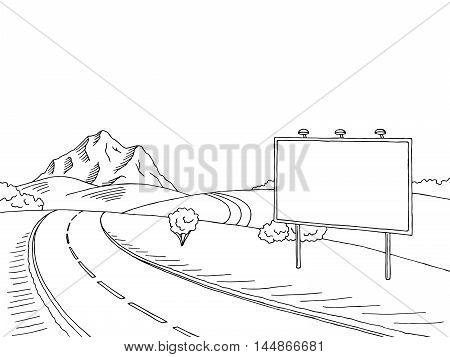 Road billboard graphic art black white landscape sketch illustration vector