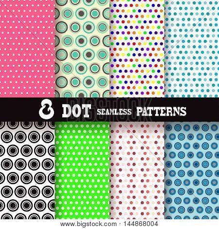 set of 8 polka dot patterns, design elements