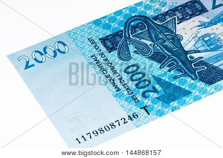 2000 CFA franc bank note. CFA franc is used in 14 African countries.