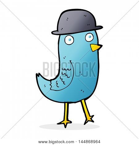 cartoon bluebird wearing hat