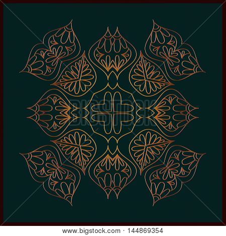 abstract embossed floral mandala pattern of interwoven lines of brown color and a frame on a black background
