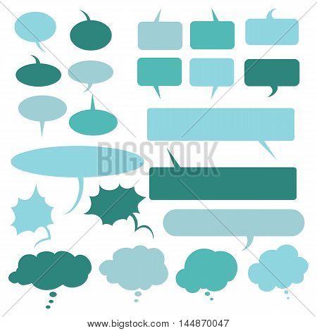 Vector Set Of Flat Comics  Bubbles. Talk And Think